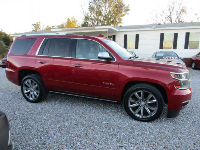 2015 Red /Tan Chevrolet Tahoe LTZ 2WD (1GNSCCKC5FR) with an 5.3L V8 OHV 16V engine, Automatic transmission, located at 15016 S Hwy 231, Midland City, AL, 36350, (334) 983-3001, 31.306210, -85.495277 - Photo #0